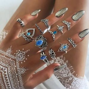 13 Pcs/ Crystal Stacking Finger rings Boho Jewelry
